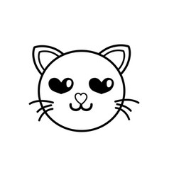line enamored cat head cute animal vector image
