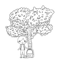 little tourist boy with tree plant vector image