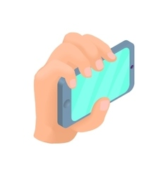 Male hand holding phone icon cartoon style vector image
