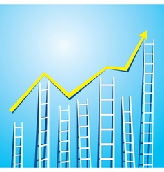 market graph design with stair up and down vector image