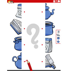 Match halves pictures with objects educational vector