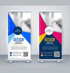Meeting presentation standee roll up banner vector