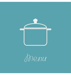 Menu cover with contour saucepan Flat design style vector