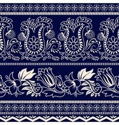 Monochrome striped floral pattern vector