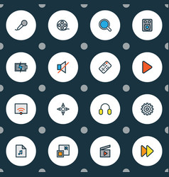 Multimedia icons colored line set with sound off vector