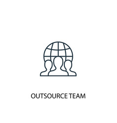 outsource team concept line icon simple element vector image