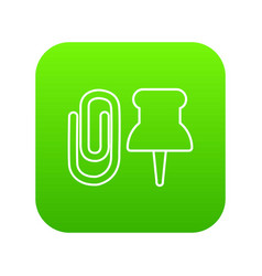 paper clip icon green vector image