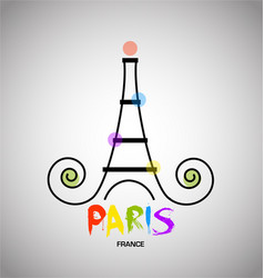 paris eiffel tower logo vector image