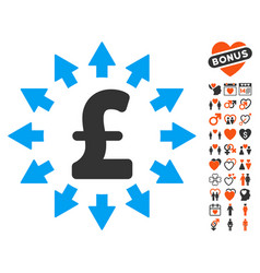 Pound distribution icon with lovely bonus vector