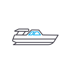 powerboat thin line stroke icon powerboat vector image