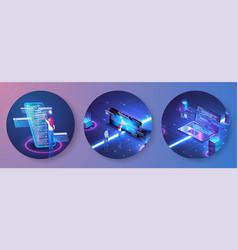 programmer at work concept banner software web vector image