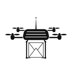 Quadcopter black simple icon vector