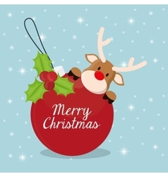 Reindeer and sphere of chistmas design vector