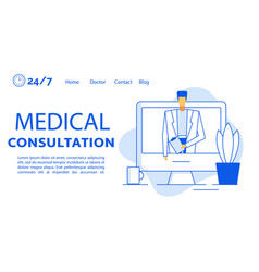 remote medical consultation treatment landing page vector image