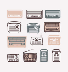 retro radio icons set flat vector image