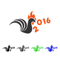 Rooster kick 2016 year flat icon vector