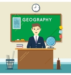 School teacher in classroom Geography lesson vector image