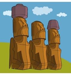 Sculptures easter island rapa nui vector