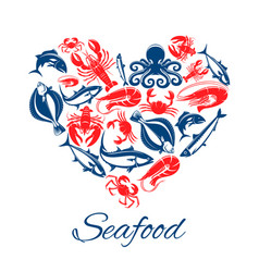 Seafood fish food heart poster vector
