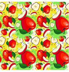 Seamless pattern red apples fruits summer ornament vector