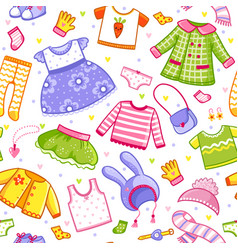 Seamless pattern with clothes in cartoon vector