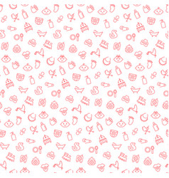 Seamless pattern with icons baby items vector