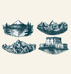 Set mountains peaks vintage rock old vector