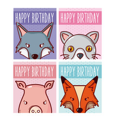 Set of happy birthday animals cards vector