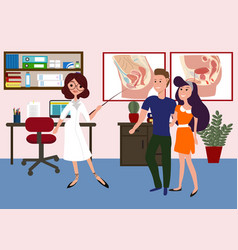 sexologist clinic with doctor and patients vector image