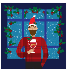 smiling man in santa red hat holding mulled wine vector image
