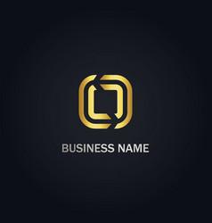 square line circle gold company logo vector image