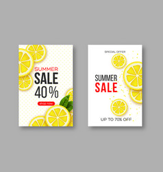 Summer sale banners with sliced lemon pieces vector