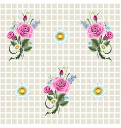 template with roses vector image