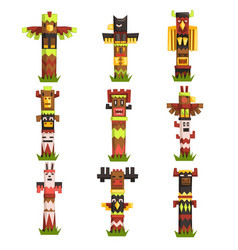 Traditional religious totem poles set native vector