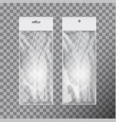 transparent blank plastic bag template set white vector image