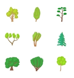 Varieties of trees icons set cartoon style vector