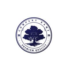 Vintage retro oak banyan maple family tree life vector