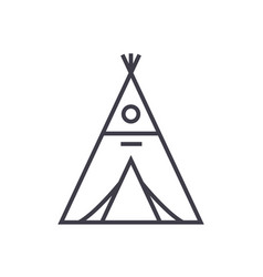 Wigwam line icon sign on vector