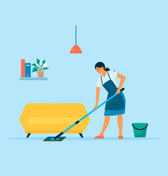 Woman doing chores at home housewife cleaning the vector
