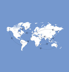 world map and planes vector image