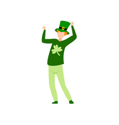 young man in green costume and hat celebrating vector image