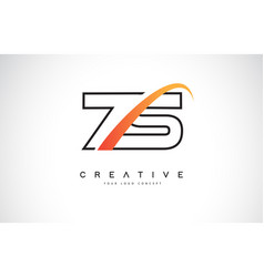 zs z s swoosh letter logo design with modern vector image
