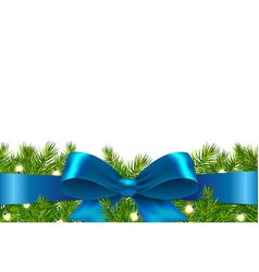 blue ribbon with fir tree vector image vector image
