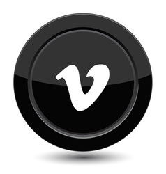Button with v letter vector image vector image