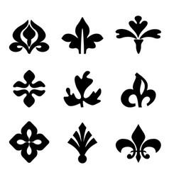 decorative floral elements black for design vector image vector image