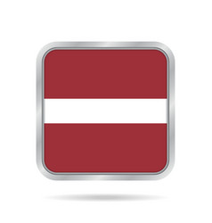 Flag of latvia shiny metallic gray square button vector