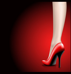 womens red shoes from a varnish on leg vector image vector image