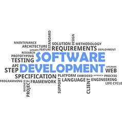 word cloud software development vector image