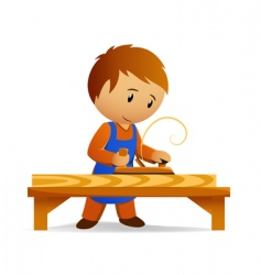 cartoon carpenter vector image vector image