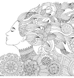 hand drawn woman with floral vector image vector image